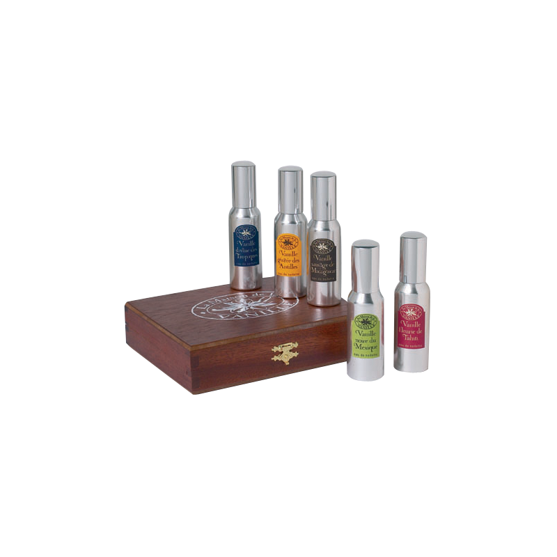 Luxury wooden coffret - 5x30ml - Vanilles du Monde